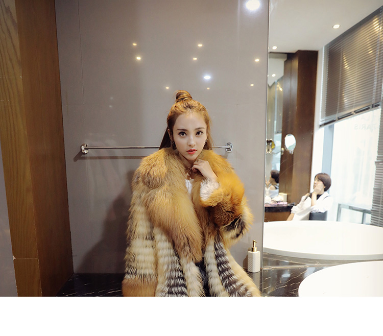 3-4 Length Fox Fur Coat with Cashmere Lining 979 Details 1