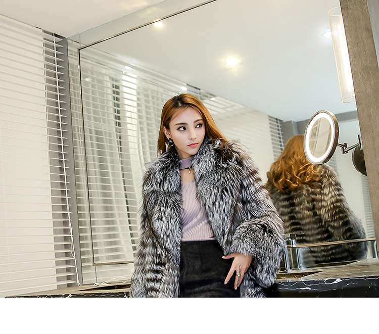 3-4 Length Fox Fur Coat with Cashmere Lining 979 Details 10