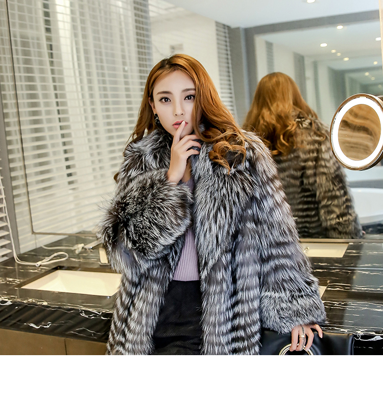 3-4 Length Fox Fur Coat with Cashmere Lining 979 Details 11