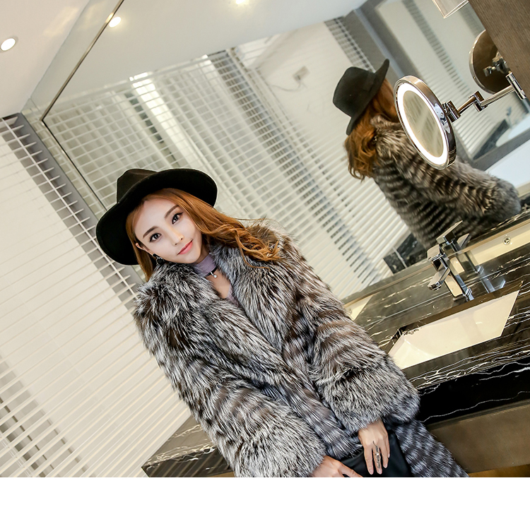 3-4 Length Fox Fur Coat with Cashmere Lining 979 Details 12