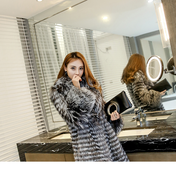 3-4 Length Fox Fur Coat with Cashmere Lining 979 Details 13