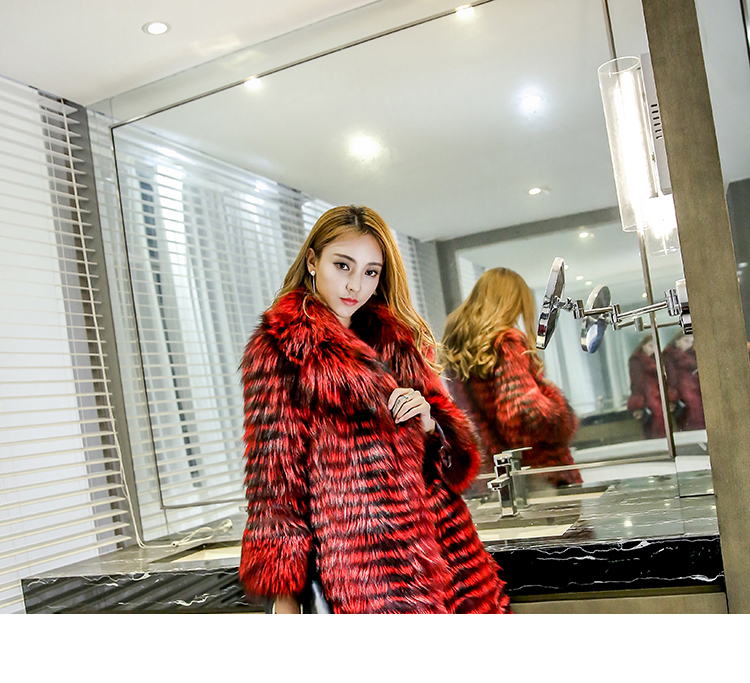 3-4 Length Fox Fur Coat with Cashmere Lining 979 Details 14