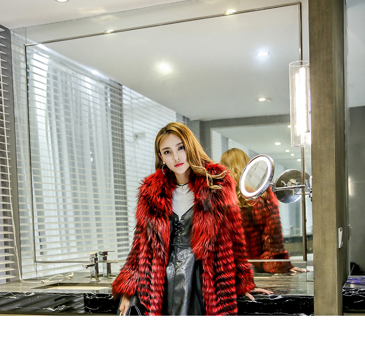 3-4 Length Fox Fur Coat with Cashmere Lining 979 Details 15