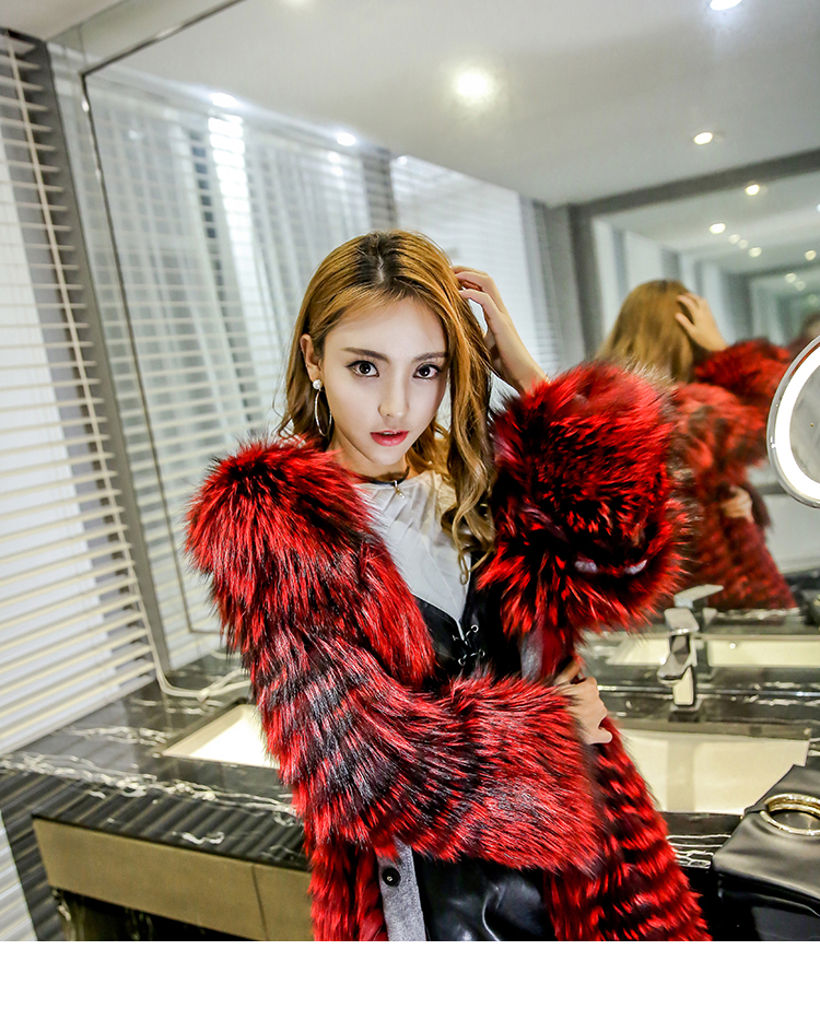 3-4 Length Fox Fur Coat with Cashmere Lining 979 Details 16