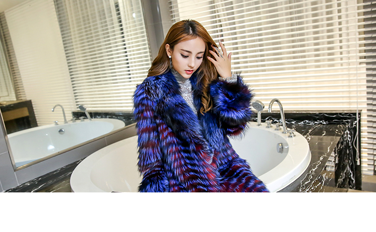 3-4 Length Fox Fur Coat with Cashmere Lining 979 Details 21