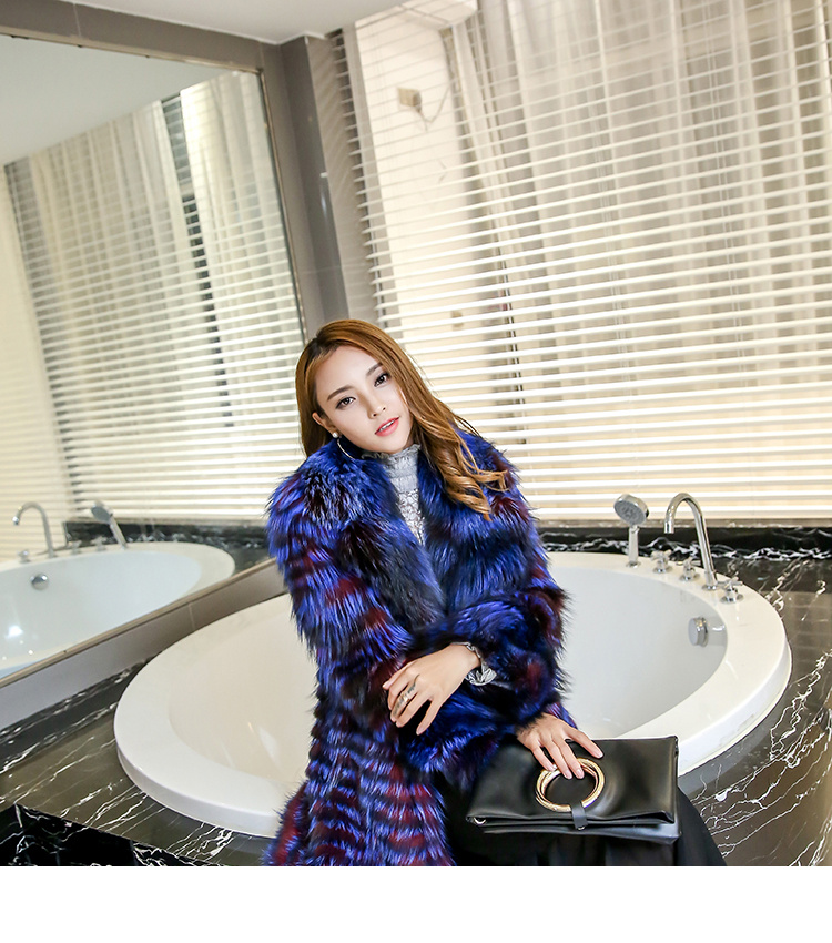3-4 Length Fox Fur Coat with Cashmere Lining 979 Details 22
