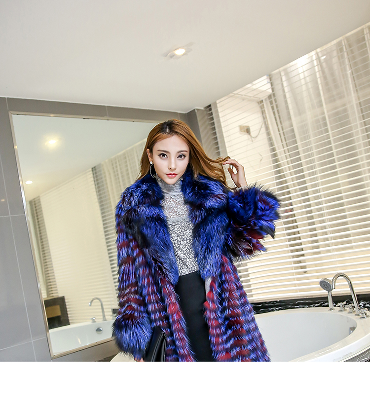3-4 Length Fox Fur Coat with Cashmere Lining 979 Details 24