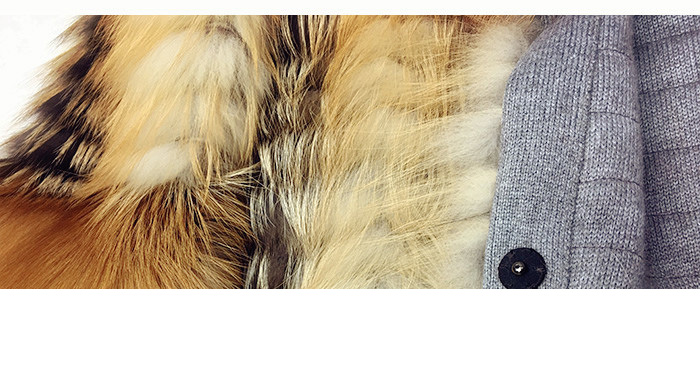 3-4 Length Fox Fur Coat with Cashmere Lining 979 Details 27