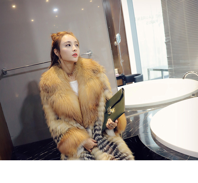 3-4 Length Fox Fur Coat with Cashmere Lining 979 Details 3