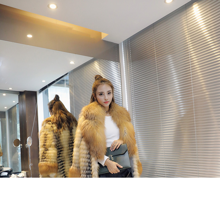 3-4 Length Fox Fur Coat with Cashmere Lining 979 Details 4