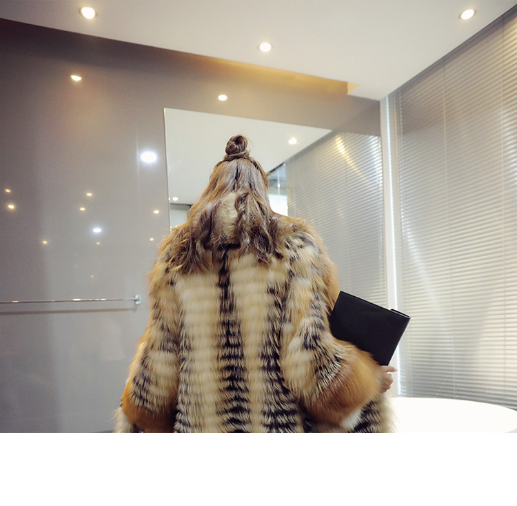 3-4 Length Fox Fur Coat with Cashmere Lining 979 Details 6