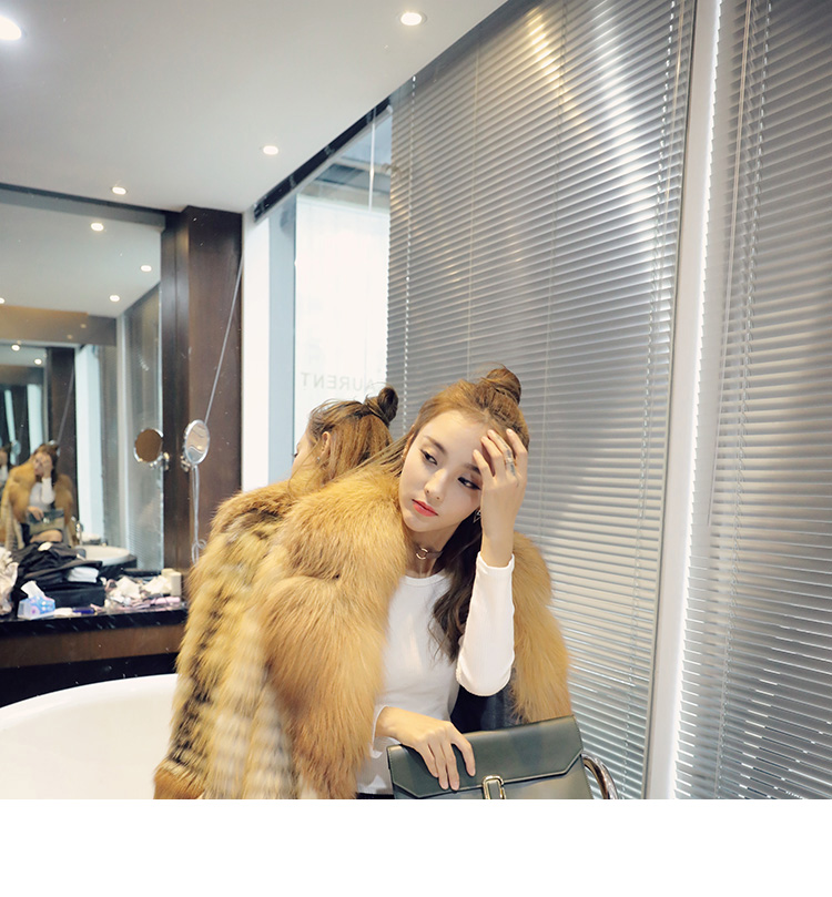 3-4 Length Fox Fur Coat with Cashmere Lining 979 Details 7