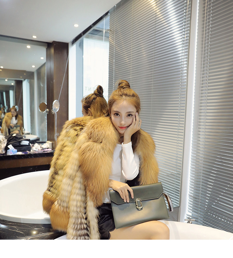 3-4 Length Fox Fur Coat with Cashmere Lining 979 Details 8