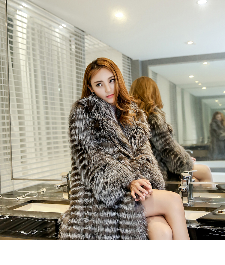 3-4 Length Fox Fur Coat with Cashmere Lining 979 Details 9