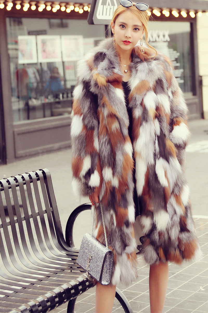 Long Length Genuine Multicolor Fox Fur Winter Coat 983 Details 1