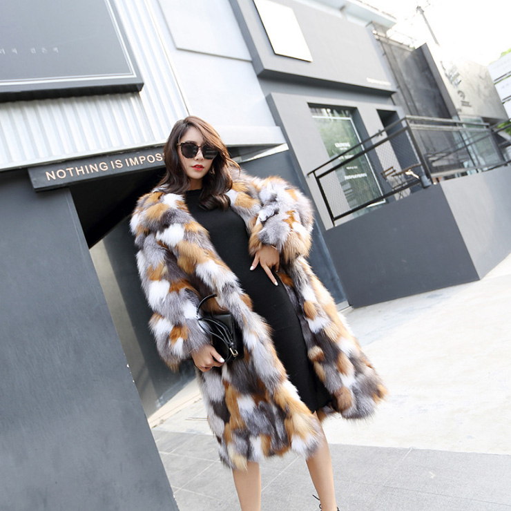 Long Length Genuine Multicolor Fox Fur Winter Coat 983 Details 3