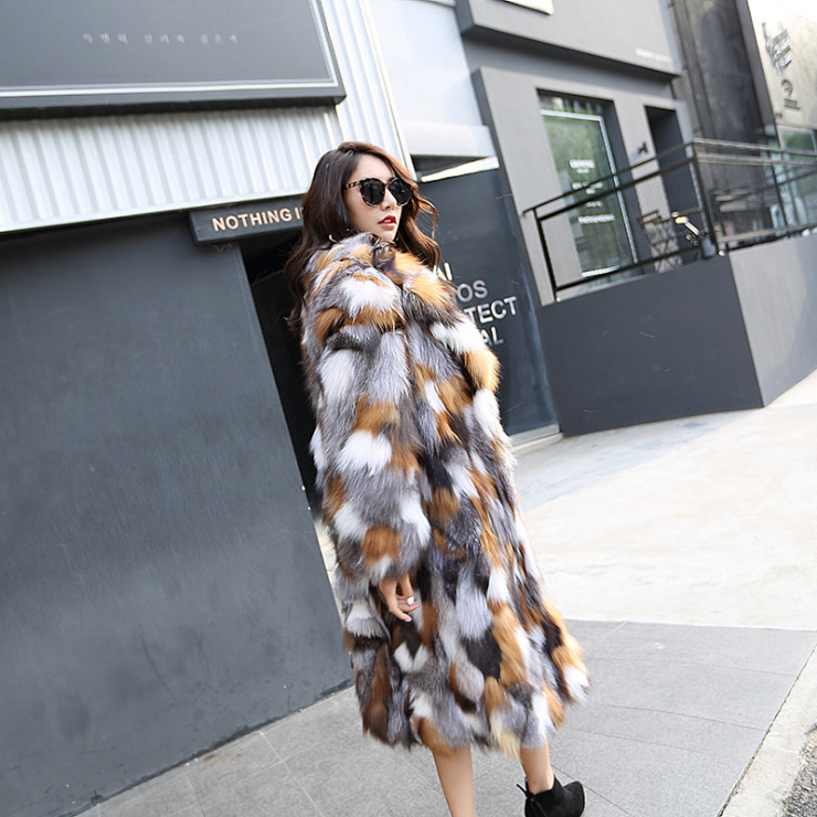Long Length Genuine Multicolor Fox Fur Winter Coat 983 Details 4