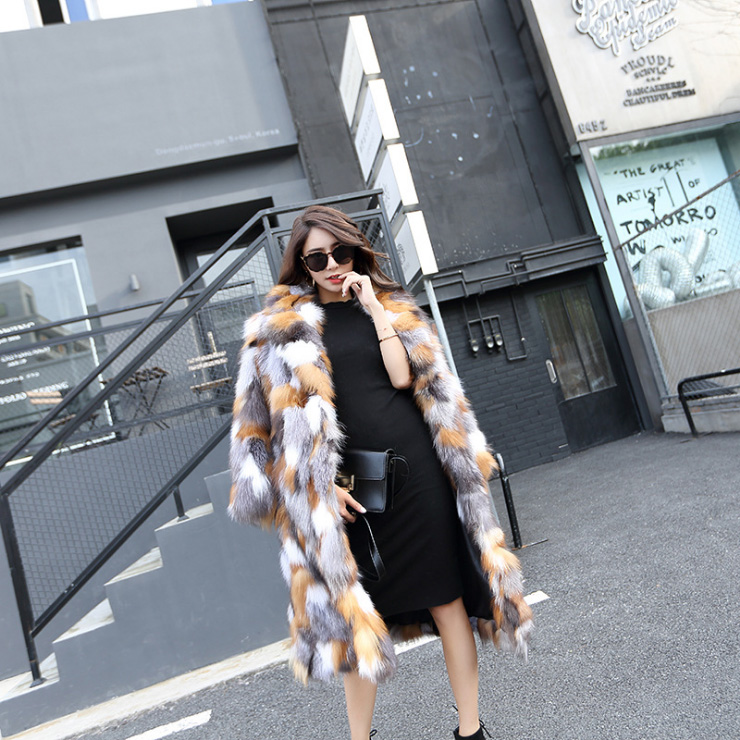 Long Length Genuine Multicolor Fox Fur Winter Coat 983 Details 6
