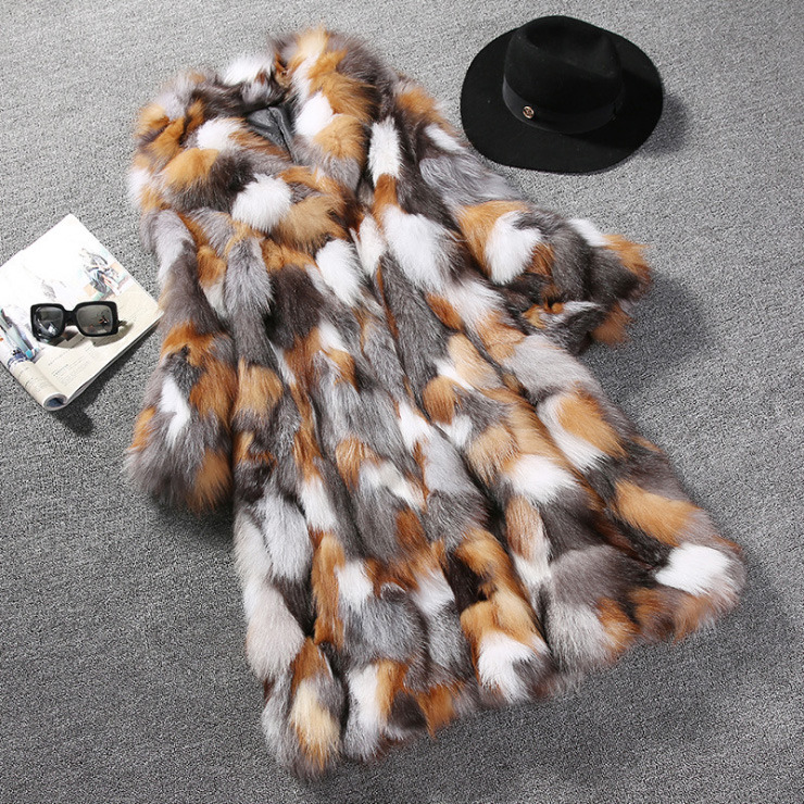 Long Length Genuine Multicolor Fox Fur Winter Coat 983 Details 7