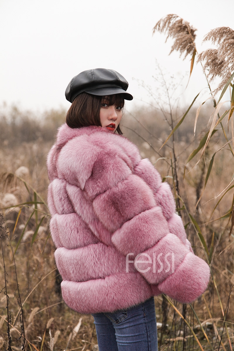Fox Fur Jacket in Pink 986b-10