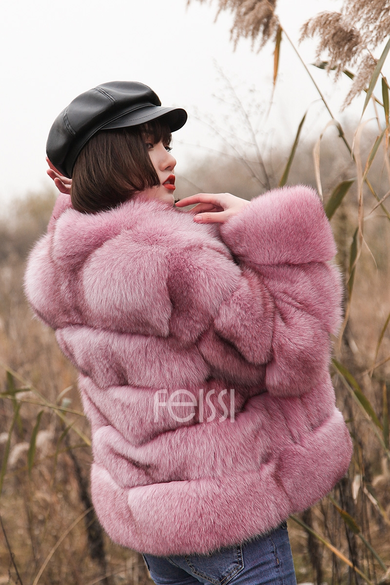 Fox Fur Jacket in Pink 986b-11