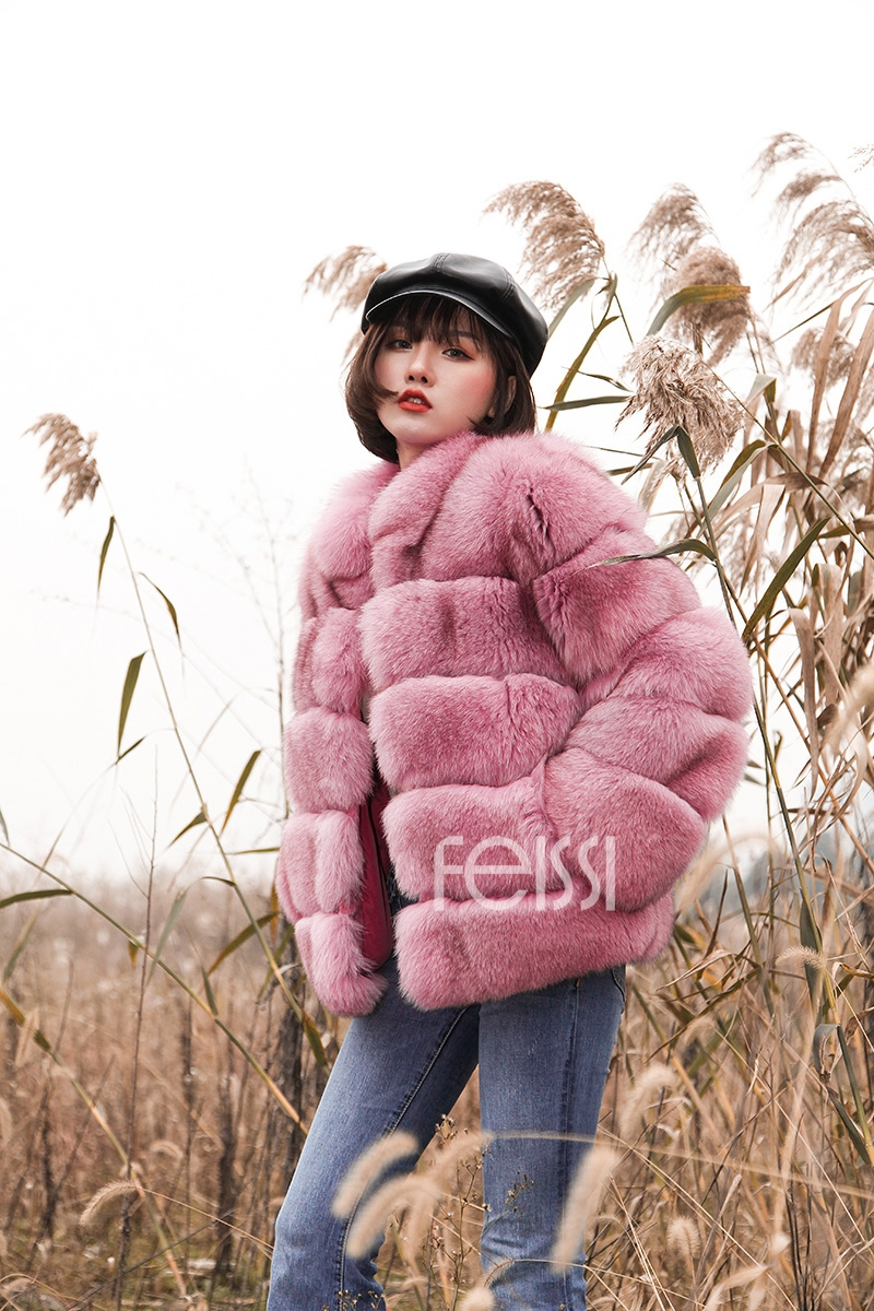 Fox Fur Jacket in Pink 986b-12