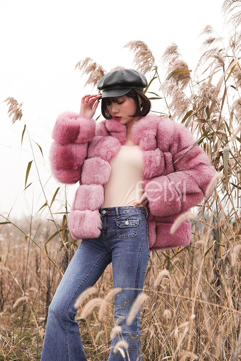 Fox Fur Jacket in Pink 986b-13