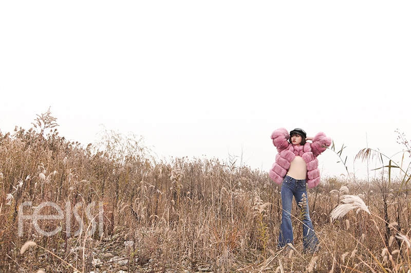 Fox Fur Jacket in Pink 986b-14