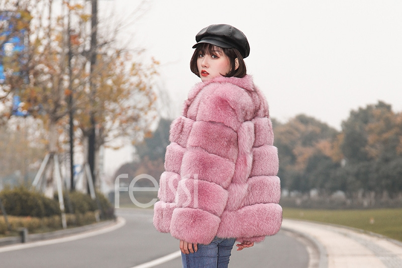 Fox Fur Jacket in Pink 986b-18