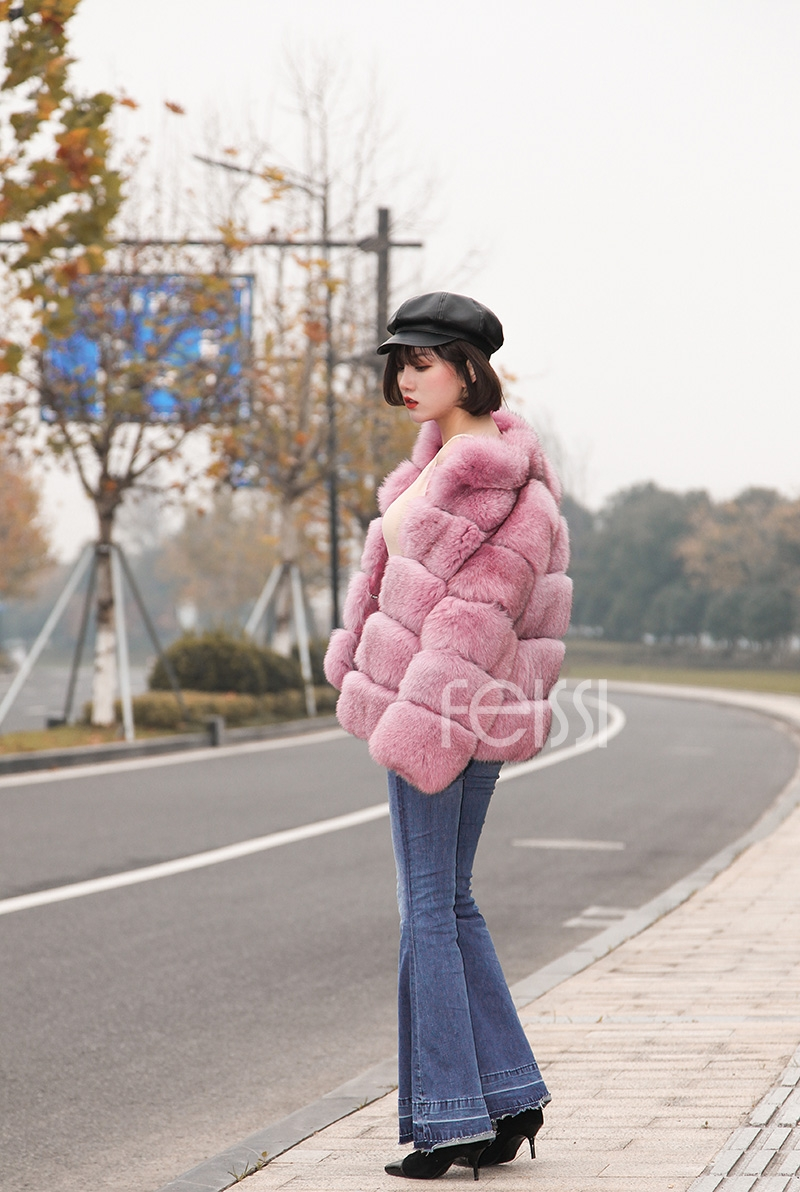 Fox Fur Jacket in Pink 986b-19