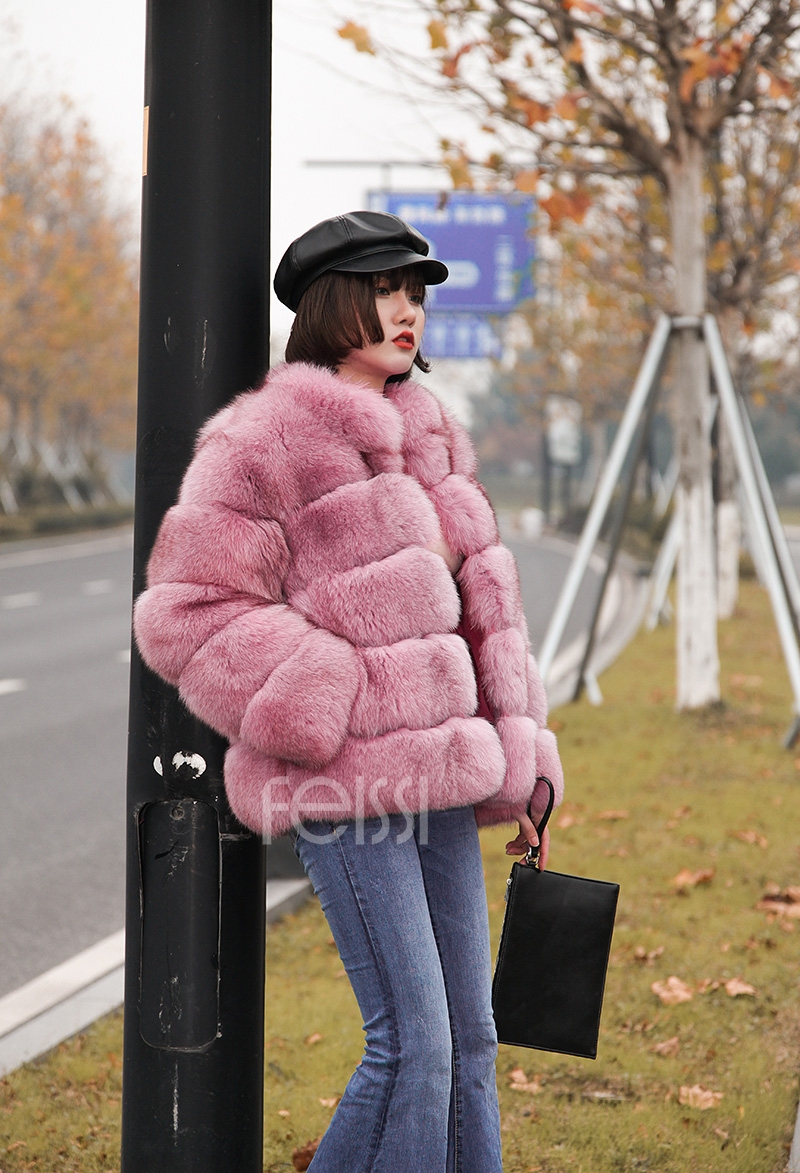 Fox Fur Jacket in Pink 986b-2
