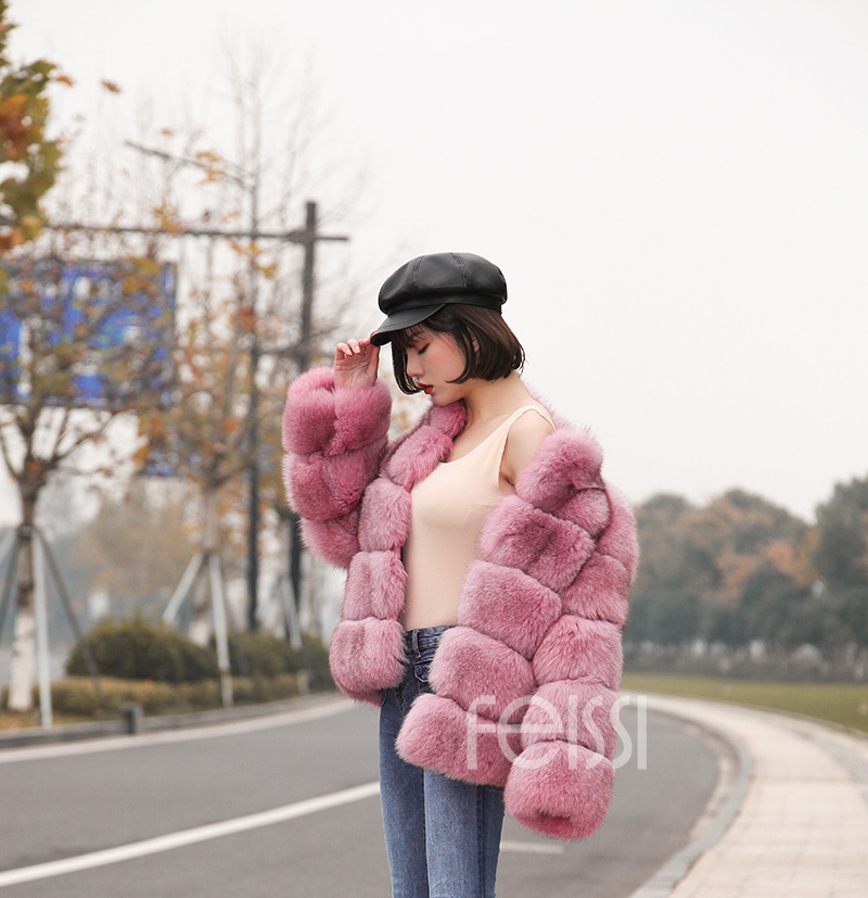 Fox Fur Jacket in Pink 986b-20