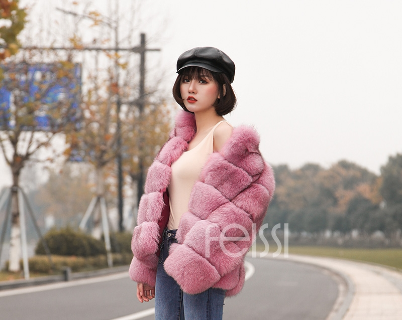 Fox Fur Jacket in Pink 986b-21