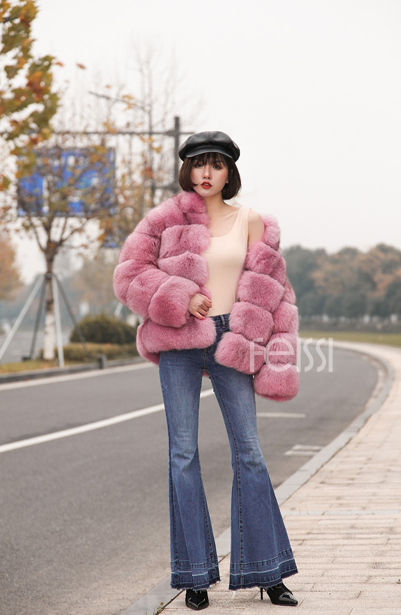 Fox Fur Jacket in Pink 986b-22