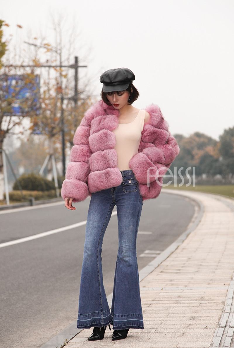 Fox Fur Jacket in Pink 986b-23