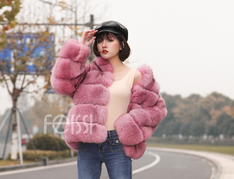Fox Fur Jacket in Pink 986b-24