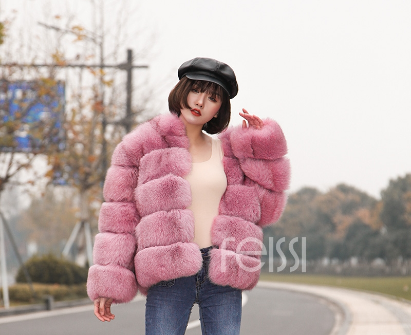Fox Fur Jacket in Pink 986b-26