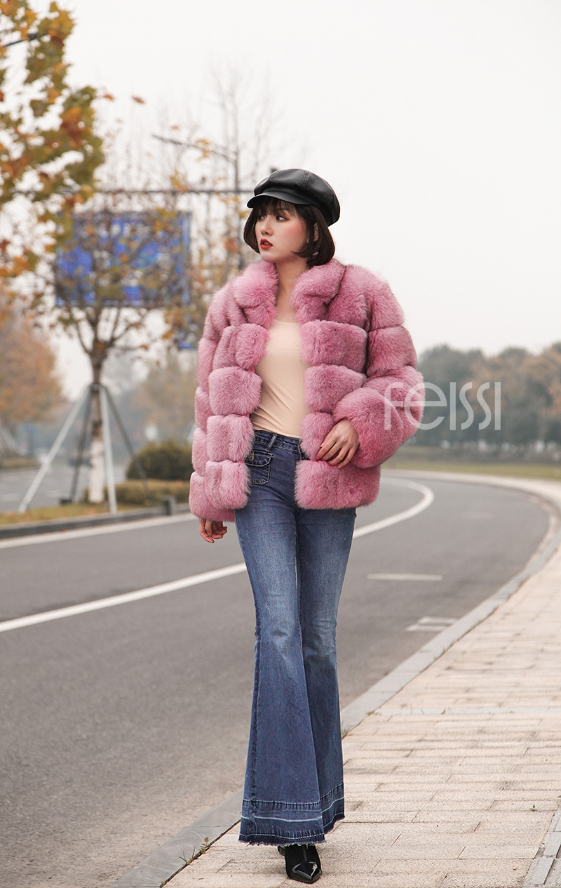Fox Fur Jacket in Pink 986b-27