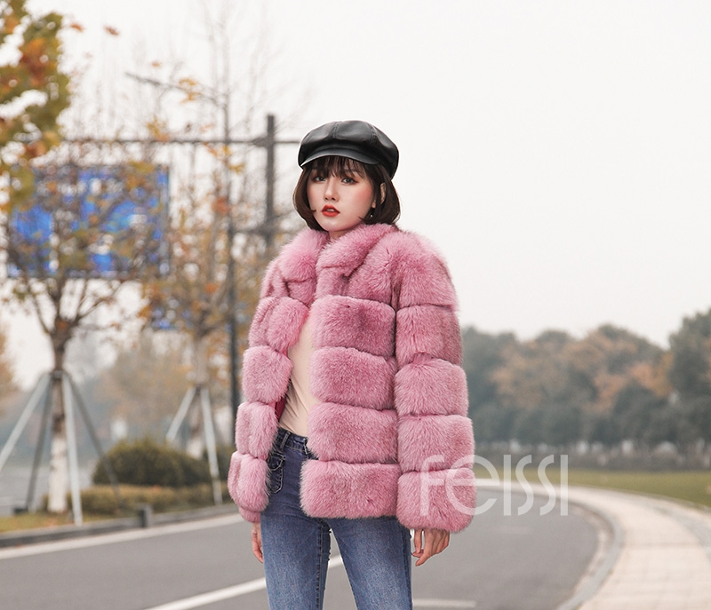 Fox Fur Jacket in Pink 986b-28