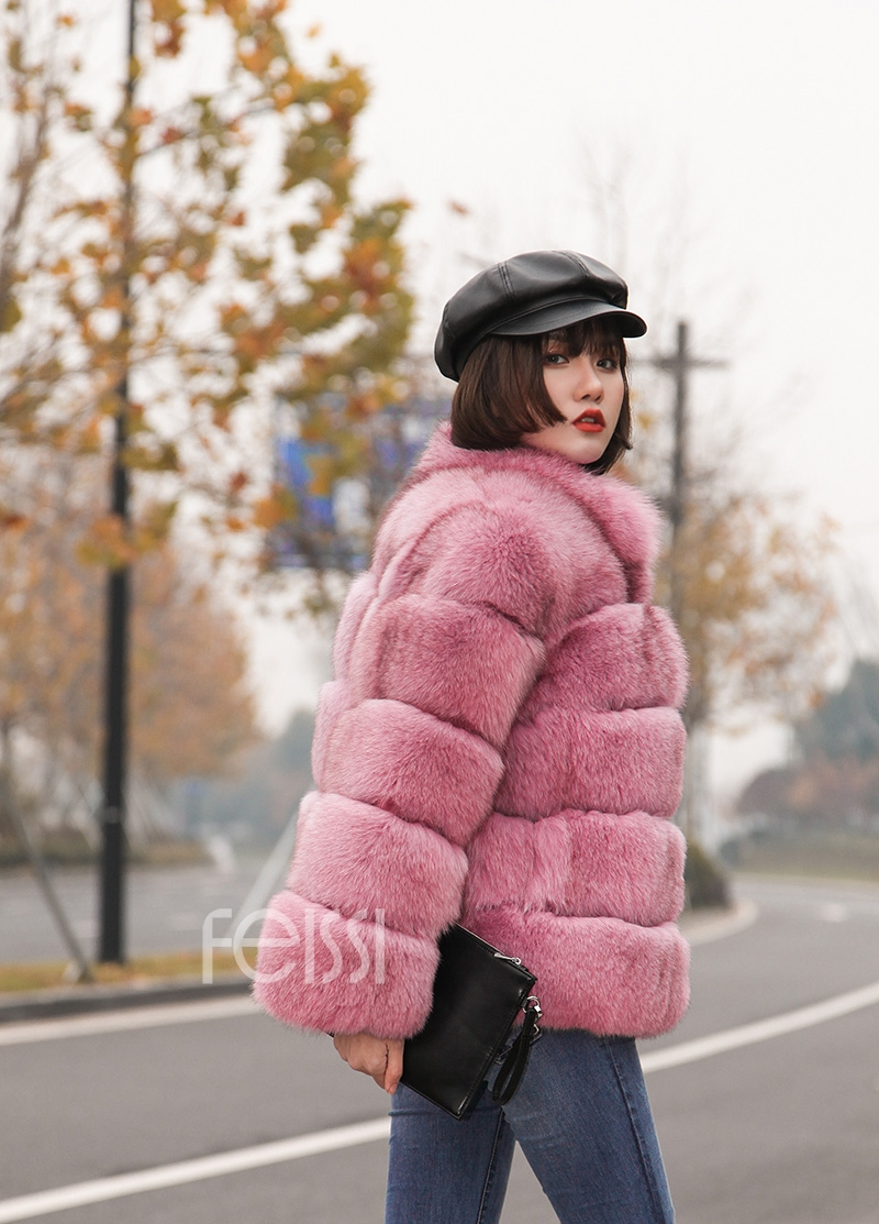Fox Fur Jacket in Pink 986b-29