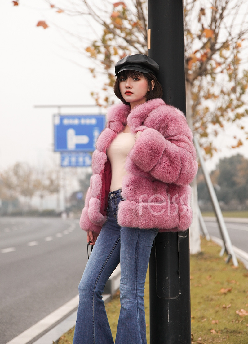 Fox Fur Jacket in Pink 986b-3