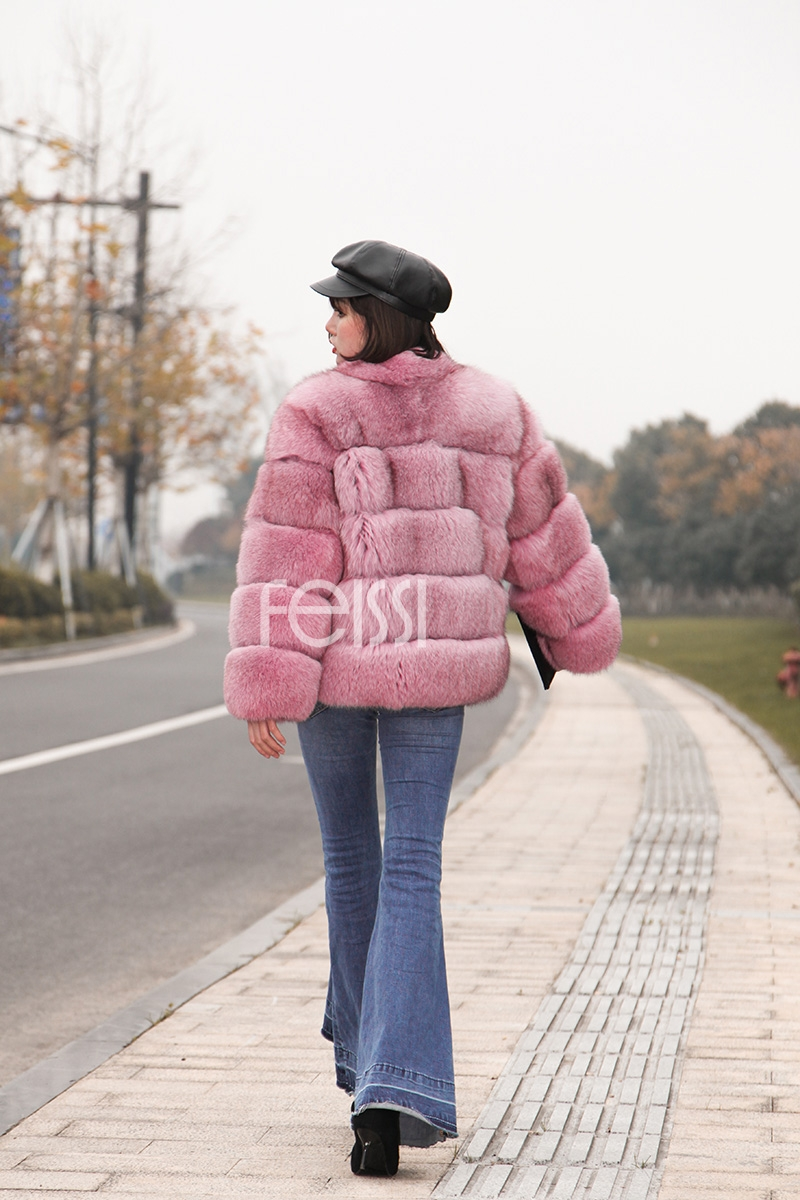 Fox Fur Jacket in Pink 986b-30