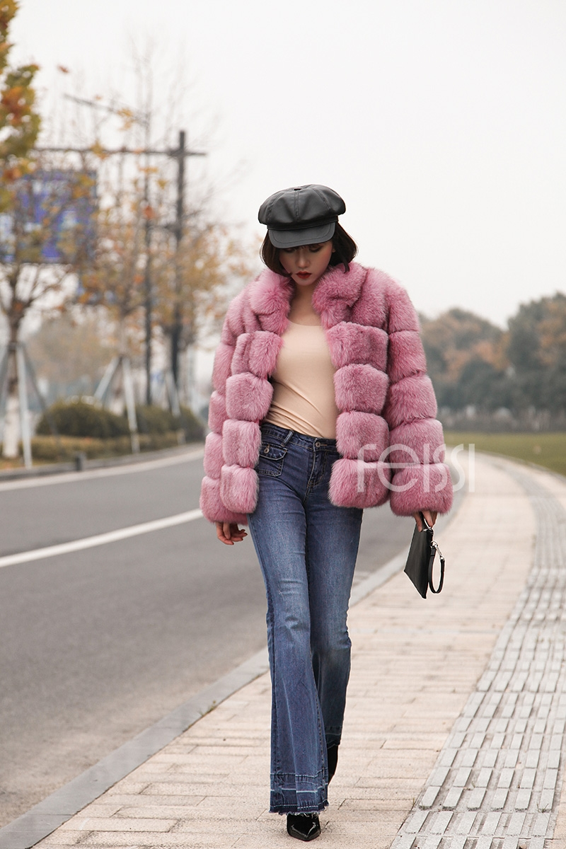Fox Fur Jacket in Pink 986b-31