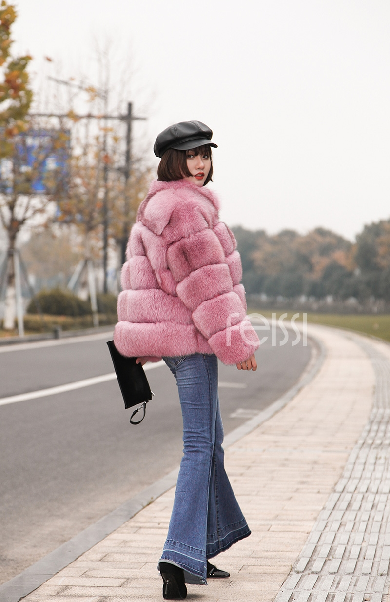 Fox Fur Jacket in Pink 986b-32