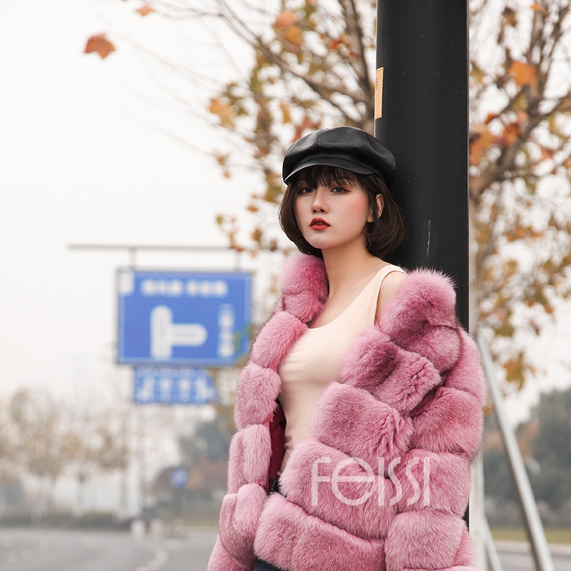 Fox Fur Jacket in Pink 986b-4