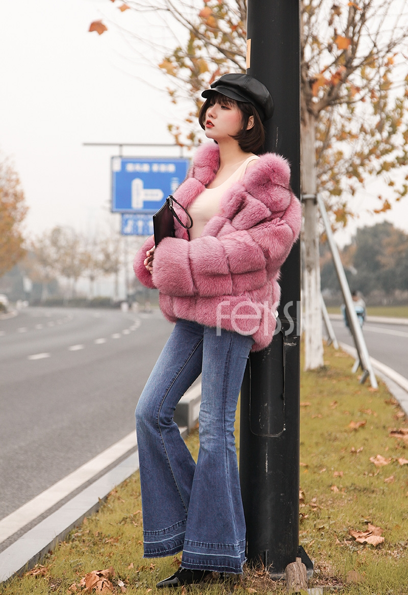 Fox Fur Jacket in Pink 986b-7