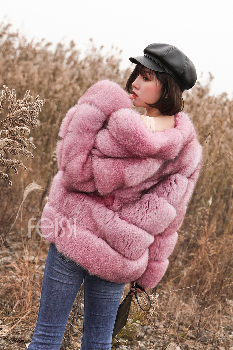 Fox Fur Jacket in Pink 986b-8