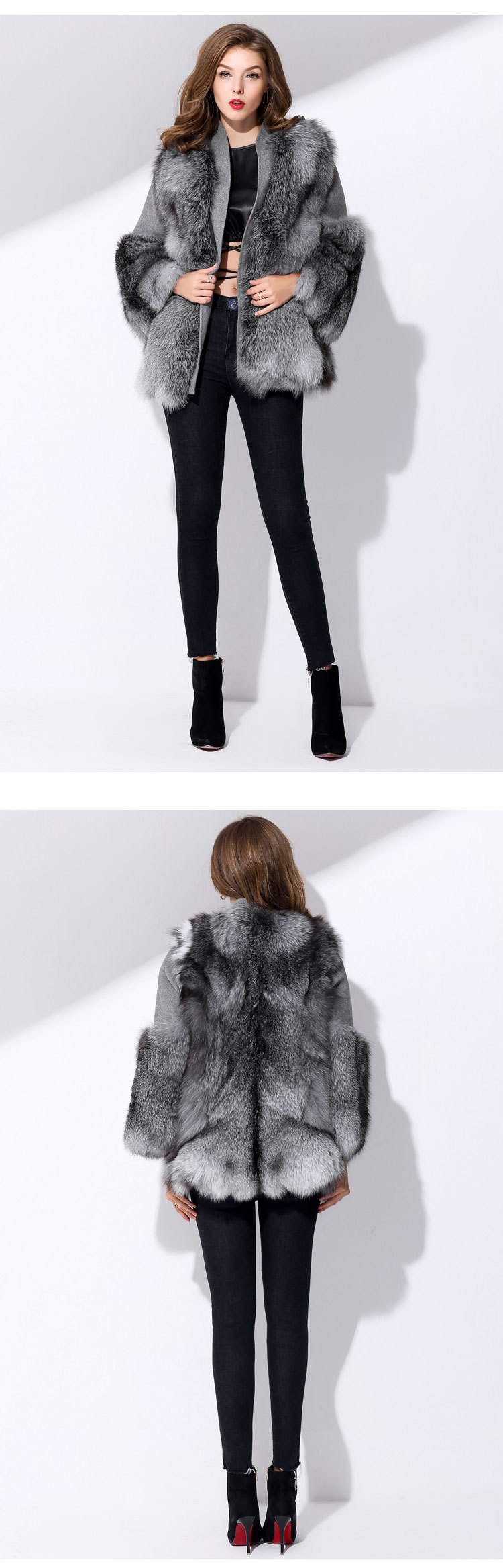 28619bbc951c Fox Fur Coat with Double-Sided Wool Trim 991c Details 1