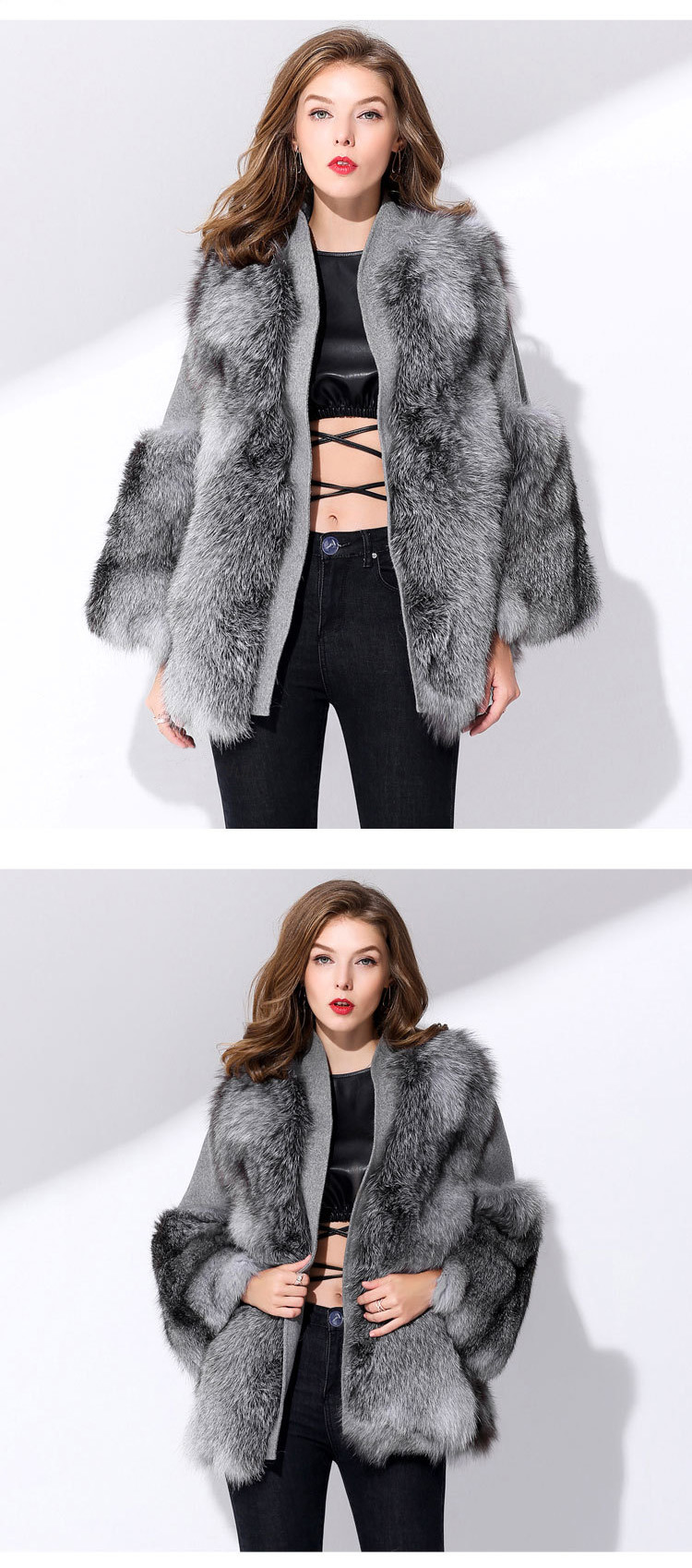 fca8bce02230 Fox Fur Coat with Double-Sided Wool Trim 991c Details 2