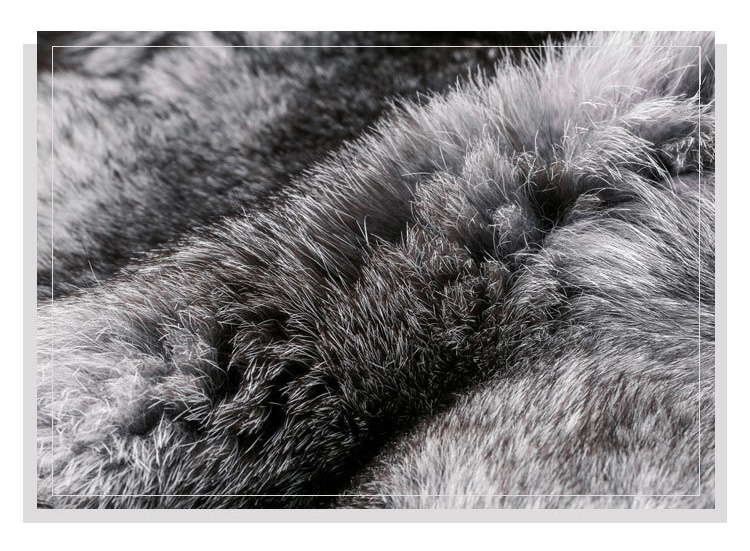Fox Fur Coat with Double-Sided Wool Trim 991c Details 3